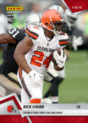 2018 Panini Instant NFL Football #50 Nick Chubb RC Rookie Cleveland Browns  Scores Twice on Long Runs  Print Run Only 80