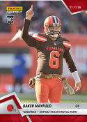 2018 Panini Instant NFL Football #91 Baker Mayfield RC Rookie Cleveland Browns  Dangerous - Tosses 3 TDs in Win Print Run 104 Official Trading Card SO