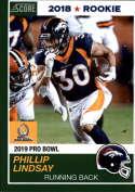 2018 Panini Instant NFL Pro Bowl 1989 Score Design Football #6 Phillip Lindsay RC Rookie Denver Broncos  Official NFL Football Trading Card ONLINE EXC