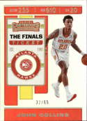 2019-20 NBA Contenders The Finals Ticket #46 John Collins SERS65 Atlanta Hawks  Official Panini Basketball Trading Card from Hobby (Scan streaks are N