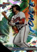 2019 Bowman's Best Power Producers Refractor Atomic #PP-ARI Austin Riley RC Rookie Atlanta Braves  Official MLB Baseball Trading Card produced by Topp