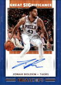 2019-20 NBA Hoops Great SIGnificance #98 Jonah Bolden Auto Philadelphia 76ers  Official Panini Basketball Trading Card (Retail Exclusive Auto)