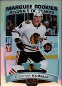2019-20 OPC Platinum Hockey Rainbow #186 Dominik Kubalik RC Rookie Chicago Blackhawks  Official Upper Deck O-Pee-Chee NHL Trading Card (Scan Streaks a