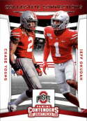 2020 Contenders Draft (NCAA) Football Collegiate Connections #9 Chase Young/Jeff Okudah Ohio State Buckeyes  Official Panini America Trading Card
